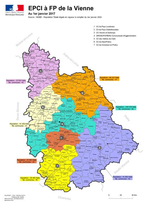 Carte des epci au 1er janvier 2017 intercommunalit 2016 for Habitat de la vienne chatellerault